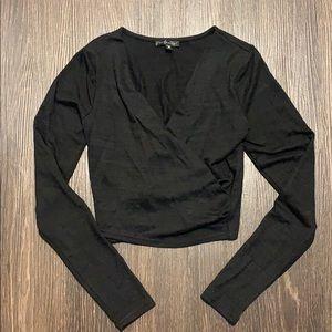 Dynamite black crop long sleeve top